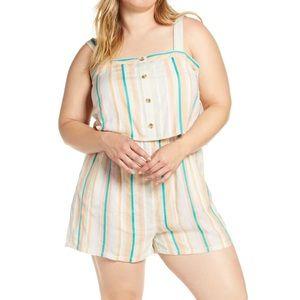 BP. Rainbow Striped Sleeveless Romper Plus Size